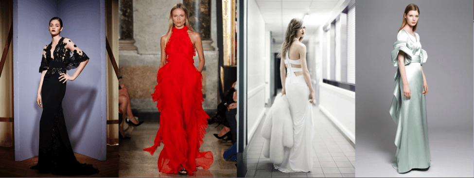 Вечерние платья - классический красный, чёрный, белый