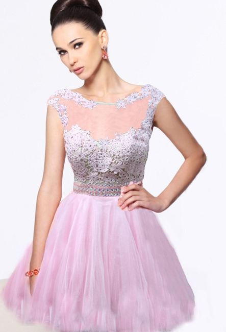 Вечернее платье розовое короткое