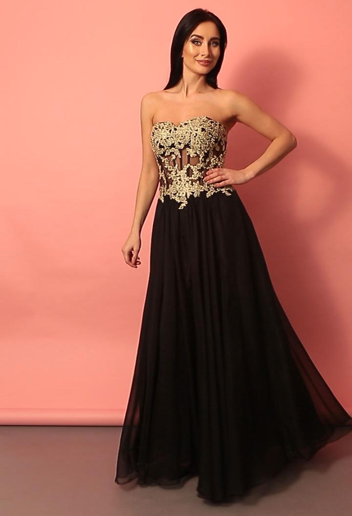 Элегантное черное платье с золотым корсетом   Купить GraceEvening.ru ... 91a2d32f53f
