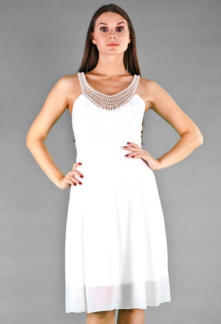 Короткое вечернее платье недорого * Расклешенная юбка * Пояс с завышенной талией * Верх расшит бусинами * Платье на