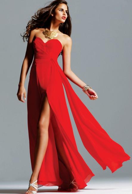 Платье в пол с пайетками красное