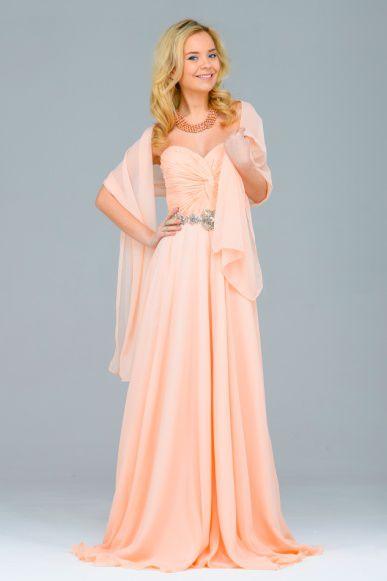 платье на выпускной персиковое
