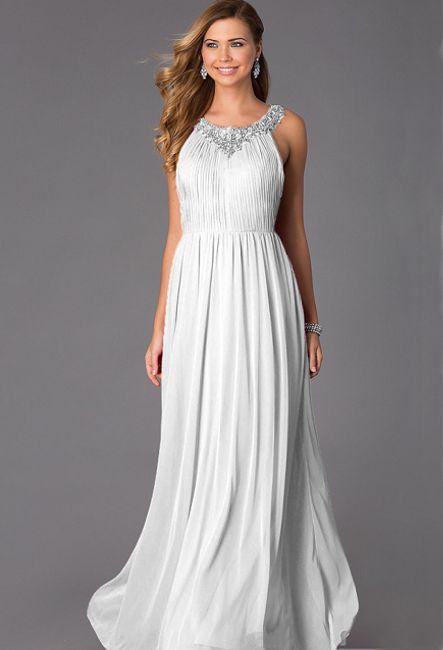e45585714591 Белое вечернее платье в пол - GraceEvening.ru